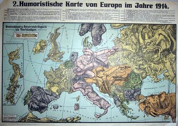 Humoristische Karte Von Europa 1914.Die Grosse Sammlung Humoristischer Landkarten 1870 1918